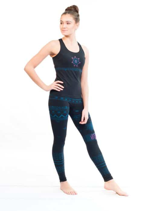 Balance Womens Seamless Organic Yoga Leggings - Blue/Black