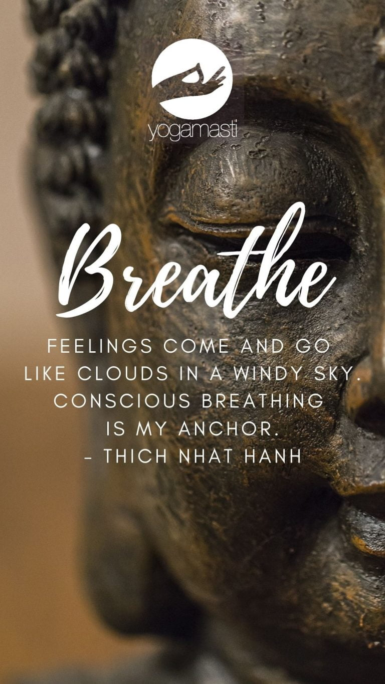 Inspiring quotes about deep breathing on top of a close up picture of a stone buddha statue face