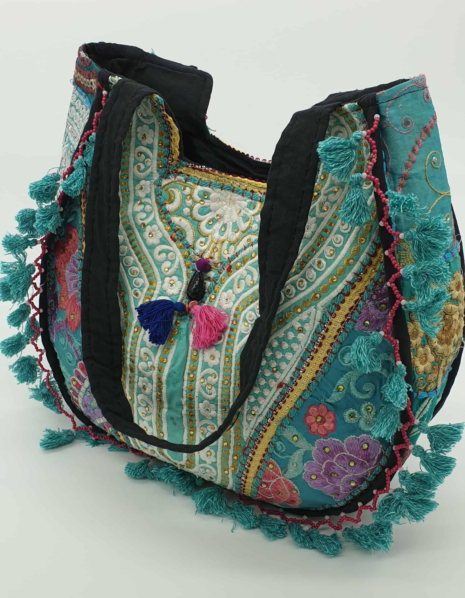 turquoise hippy patchwork handbag