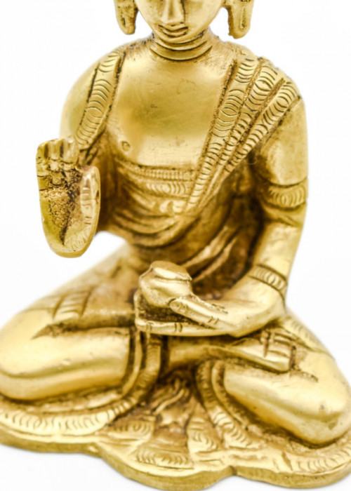 Bronze Buddha Statue - Giving A Blessing, 9.5cm