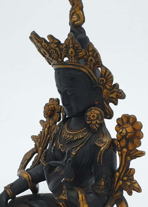 Large Black Tara Statue - Cast Bronze, For Power & Protection
